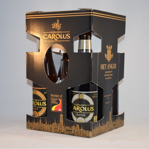Gouden carolus 4 bottles + glass